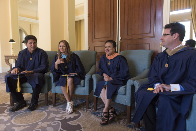 WSU Nevada graduates, from left, James Lemmons Jr., Silvia Mendoza-Stout, Jeannette Magbutay and Sean McDonald speak with a reporter prior to the school's first commencement ceremony at Hilton Lak ...
