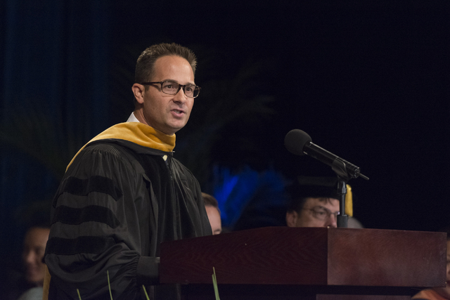 WSU Nevada Chancellor Spencer Stewart speaks during the school's first commencement ceremony at Hilton Lake Las Vegas Resort & Spa on Saturday, May 21, 2016.  (Jason Ogulnik/Las Vegas Review-J ...