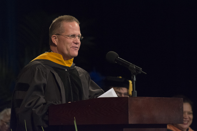 Nevada Lt. Gov. Mark Hutchison delivers commencement address during WSU Nevada's first commencement ceremony at Hilton Lake Las Vegas Resort & Spa on Saturday, May 21, 2016. (Jason Ogulnik/Las ...