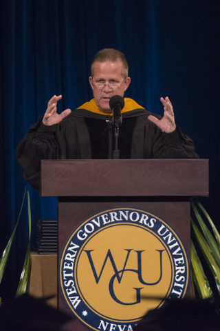 Nevada Lt. Gov. Mark Hutchison delivers commencement address during WSU Nevada's first commencement ceremony at Hilton Lake Las Vegas Resort & Spa on Saturday, May 21, 2016. Jason Ogulnik/Las  ...
