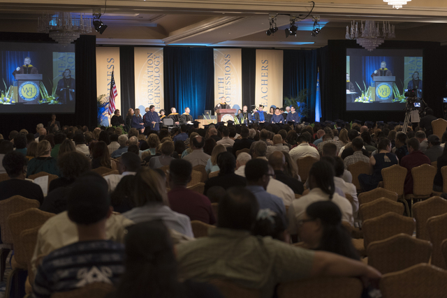 Nevada Lt. Gov. Mark Hutchison delivers commencement address during WSU Nevada's first commencement ceremony at Hilton Lake Las Vegas Resort & Spa on Saturday, May 21, 2016.  (Jason Ogulnik/La ...
