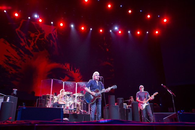 Roger Daltrey, center, and Pete Townshend, right, of The Who perform at the Colosseum in Caesars Palace on Sunday, May 29, 2016 in Las Vegas. Brett Le Blanc/Las Vegas Review-Journal Follow @blebla ...