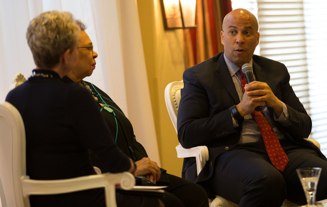 U.S. Sen. Cory Booker speaks during a May 7, 2016, Mother's Day-themed event at Las Venatans in Summerlin. Richard Brian/Special to View