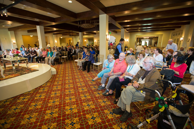The crowd at Las Ventanas in Summerlin listens to U.S. Sen. Cory Booker and his mother, Carolyn, speak during a May 7, 2016, Mother's Day-themed event. Richard Brian/Special to View