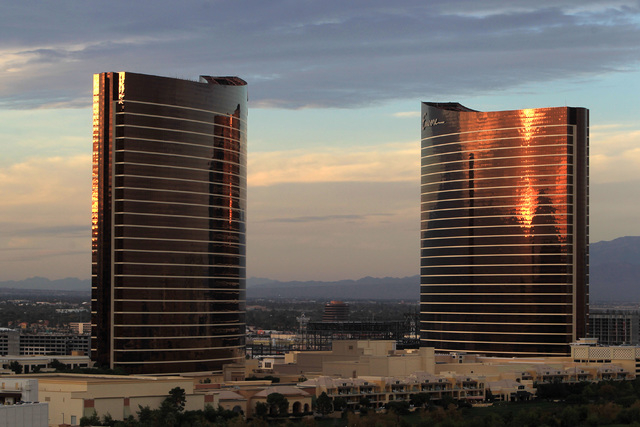 The Wynn and Encore towers are seen Thursday, Nov. 13, 2014. (Sam Morris/Las Vegas Review-Journal)