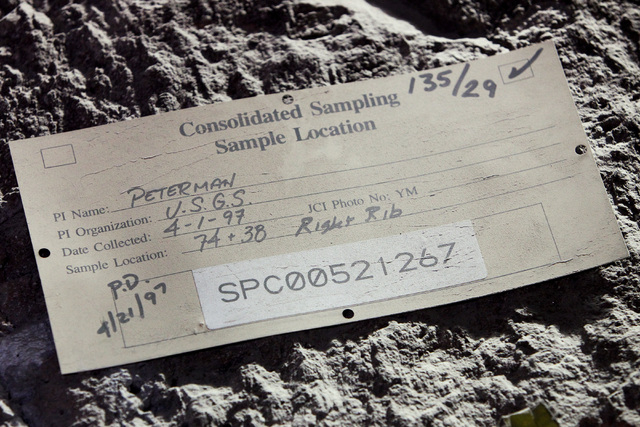 An old test identification tag is seen during a congressional tour of the Yucca Mountain exploratory tunnel Thursday, April 9, 2015. (Sam Morris/Las Vegas Review-Journal) Follow Sam Morris on Twit ...