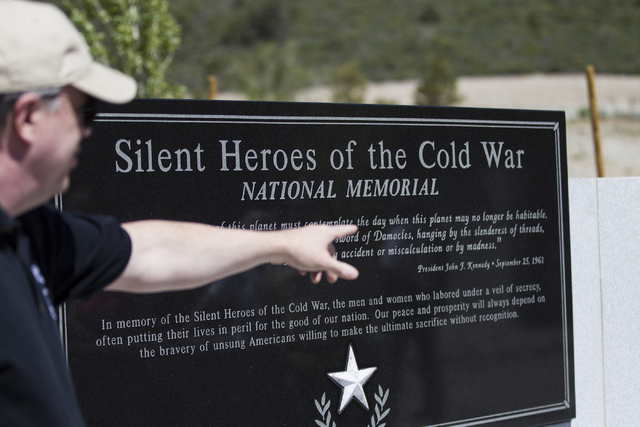 Chris Hays, a member of the Silent Heroes of the Cold War National Memorial Committee, gives a tour of the national memorial at Mount Charleston. Erik Verduzco/Las Vegas Review-Journal Follow @Eri ...
