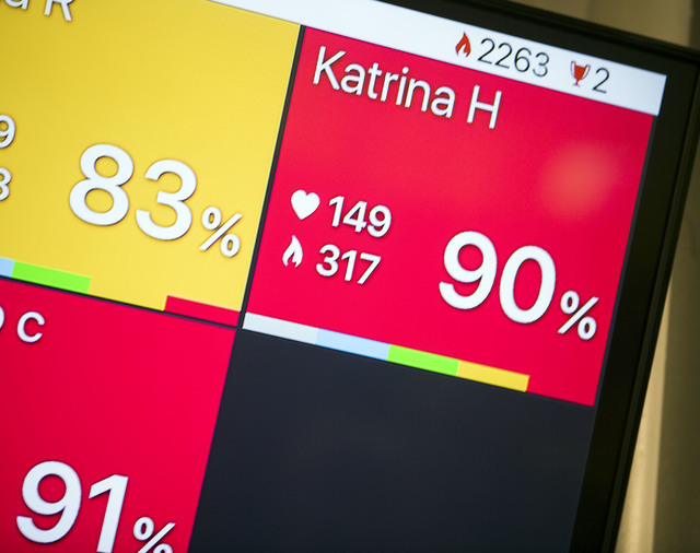 A video monitor tracks Katrina Harris heart beat and calorie count during Power Hour 360 class at Darling Tennis Center, 7901 W. Washington Ave. on Monday, June 13, 2016. Jeff Scheid/Las Vegas Rev ...