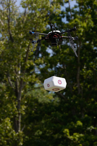 The first FAA-approved drone delivery on U.S. soil. On July 17, 2015, a Flirtey drone delivered medical supplies to a clinic in Wise, Virginia. (Tim C. Cox)