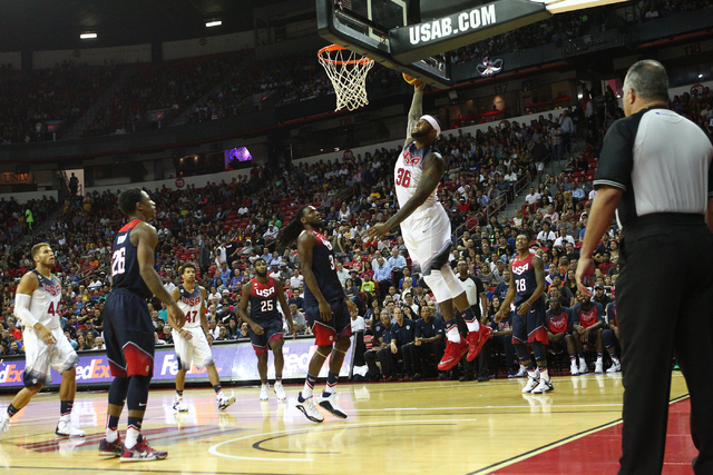 DeMarcus Cousins (36) dunks against the USA Blue team during the USA Basketball Showcase game at the Thomas & Mack Center in Las Vegas on Thursday, Aug. 13, 2015. CHASE STEVENS/LAS VEGAS REVIE ...