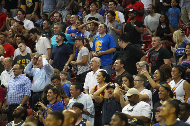 Fans watch the as the clock counts down in its final seconds during the USA Basketball Showcase game at the Thomas & Mack Center in Las Vegas on Thursday, Aug. 13, 2015. CHASE STEVENS/LAS VEGA ...