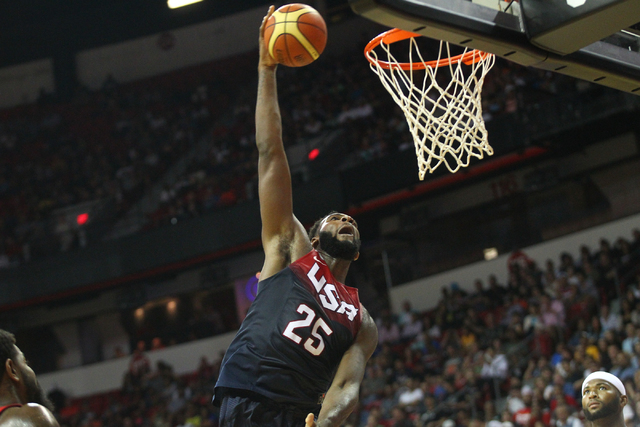 Andre Drummond (25) goes in for a dunk against the USA White team during the USA Basketball Showcase game at the Thomas & Mack Center in Las Vegas on Thursday, Aug. 13, 2015. CHASE STEVENS/LAS ...