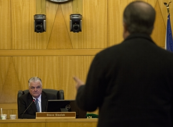 Clark County Commission Chairman Steve Sisolak, left,  at a Clark County Commission meeting in the Clark County Government Center in Las Vegas on Tuesday, Feb. 2, 2016. Daniel Clark/Las Vegas Revi ...