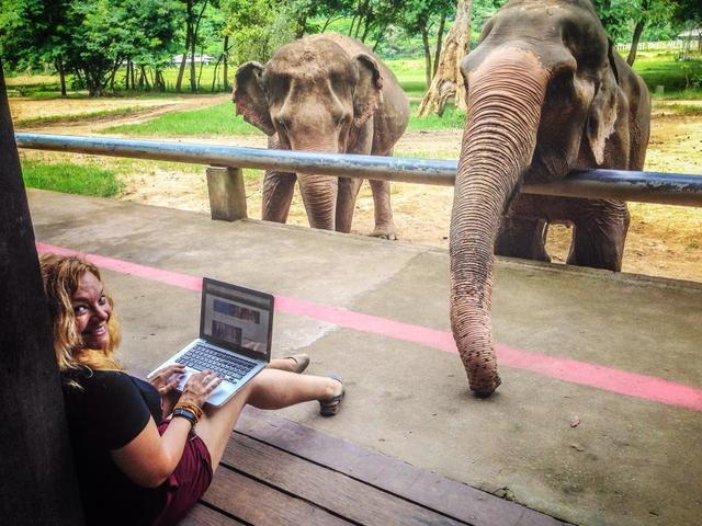 Diana Edelman is seen working at Elephant Nature Park in Thailand in August 2014. After Edelman learned about the elephant entertainment industry, she decided to become an advocate for animals. Sh ...