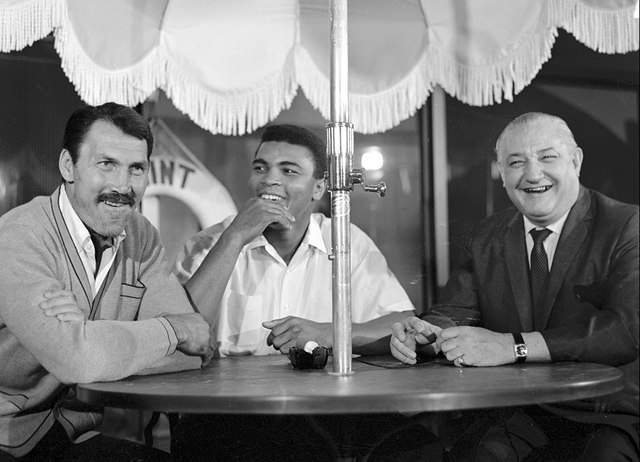 From left, actor Jack Palance, Muhammad Ali and casino owner Sam Boyd are seen at the Mint in downtown Las Vegas Nov. 4, 1965. Ali was in town for his fight against Floyd Patterson while Palance w ...