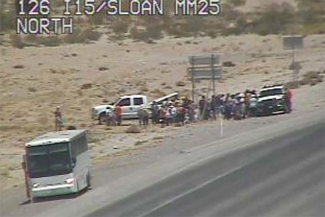 An incident on Interstate 15 near Sloan Road has closed the highway in both directions, Wednesday, June 22, 2016. (RTC Fast Cameras)