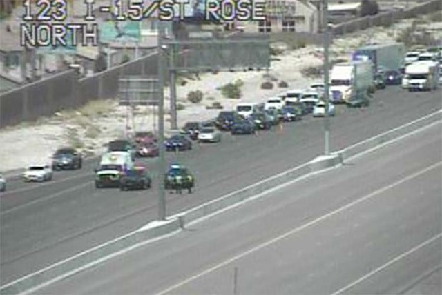 Police have closed Interstate 15 at St. Rose Parkway Wednesday, June 22, 2016, for an incident on the interstate near Sloan. (RTC Fast Cameras)