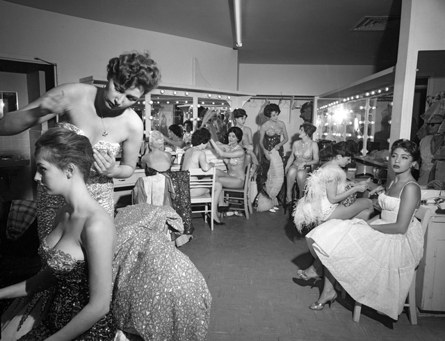 "This 1959 photo shows ""Folies Bergere"" showgirls in their dressing room, preparing  for a performance. Joe Buck/Jerry Abbott/Las Vegas News Bureau"