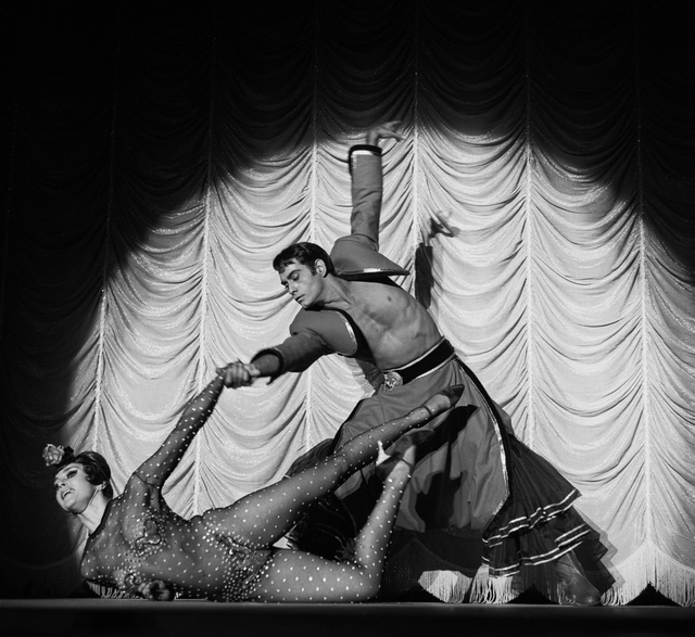 "Dancer Vassili Sulich (future founder of Nevada Ballet Theatre) and partner perform as an adagio team in the 1965 ""Folies Bergere."" John Cook/Don English/ Joe Buck Las Vegas News Bureau"