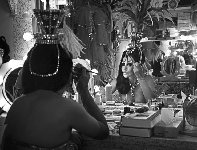"""Folies Bergere"" showgirl Joyce Grayson prepares for a 1970 performance. Wolf Wergin/Las Vegas News Bureau"