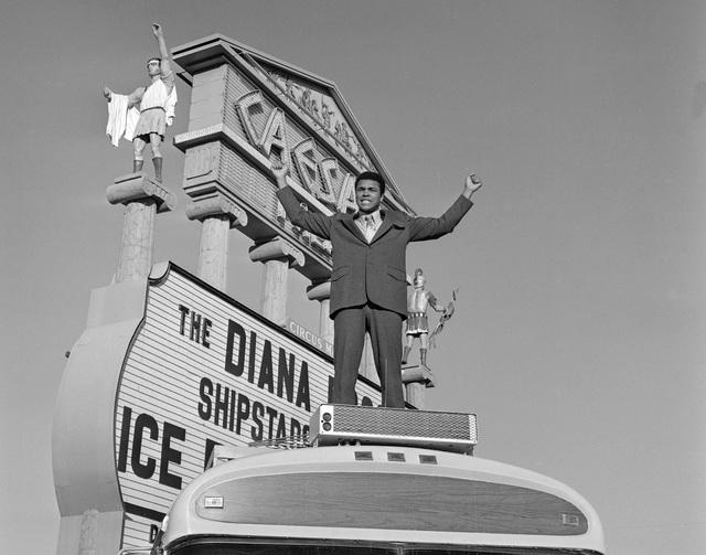 Muhammad Ali poses atop a Blue Bird Wanderlodge motorhome at Caesars Palace in Las Vegas Thursday, Feb. 1, 1973. (Tony King/Las Vegas News Bureau)