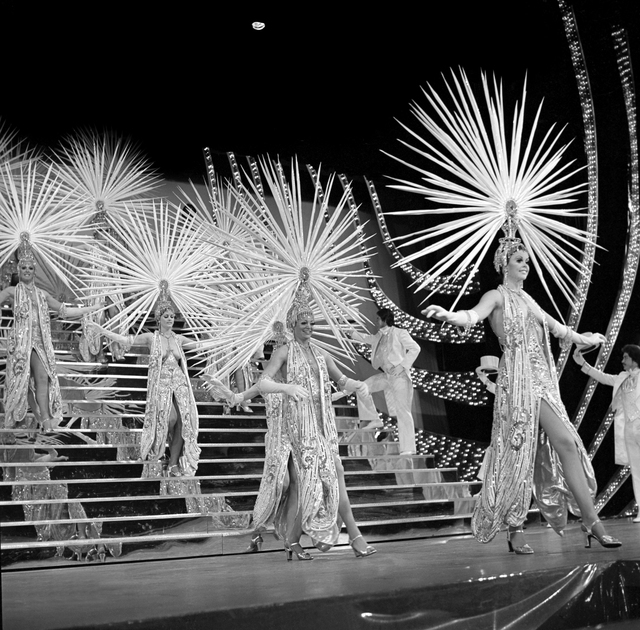 "These costumes by ""Dynasty"" designer Nolan Miller for the 1975 edition of ""Folies Bergere"" were director Jerry Jackson's favorites, as displayed in a new exhibit devoted to the long-running Tropic ..."