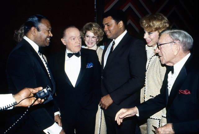 From left, unknown, Bob Hope, Christine McGuire, Muhammad Ali, Dorothy McGuire and George Burns arrive for the announcement of the establishment of the International Boxing Hall of Fame (IBHOF) at ...