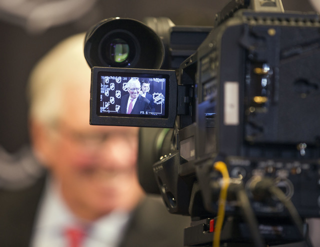 A video image of Bill Foley, a Las Vegas billionaire businessman and owner of the new National Hockey League expansion team, is seen on a television camera during a news conference at Encore Las V ...
