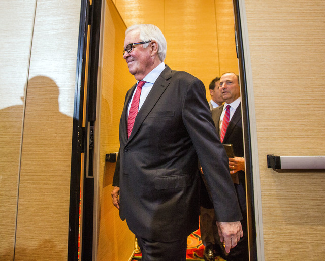 Bill Foley, left, a Las Vegas billionaire businessman and owner of the new National Hockey League expansion team and commissioner Gary Bettman enter for a news conference at Encore Las Vegas on We ...