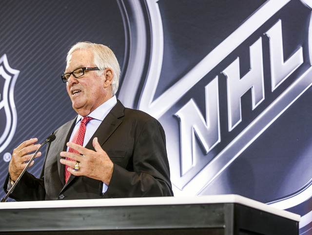 Bill Foley, Las Vegas billionaire businessman and owner of the new National Hockey League expansion team, addresses the media during a news conference at Encore Las Vegas on Wednesday, June 22, 20 ...