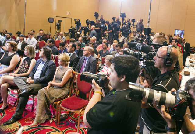 Media gather at Encore Las Vegas during a National Hockey League press conference giving a  franchise to Las Vegas expansion team for the 2017-2018 season  on Wednesday, June 22, 2016. Jeff Scheid ...