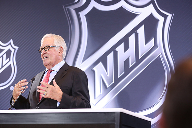 Las Vegas businessman Bill Foley speaks at the announcement of the new NHL team in Las Vegas, Wednesday, June 22, 2016. (Jeff Scheid/Las Vegas Review-Journal)