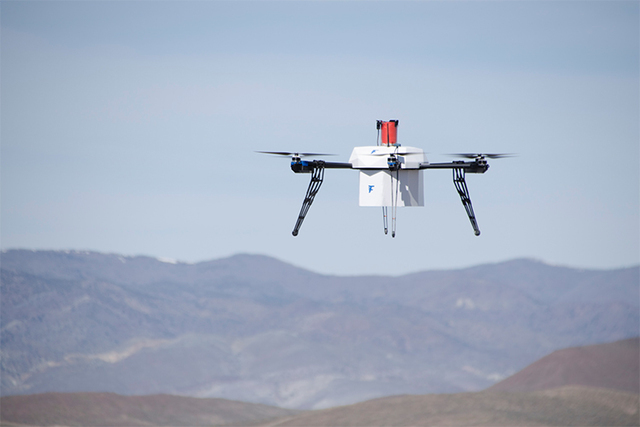 Flirtey pioneered the first FAA-approved fully autonomous drone delivery in an urban environment on March 25, 2015 in Hawthorne. (Flirtey)