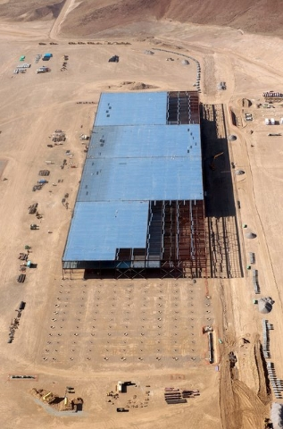 The Tesla Gigafactory is shown under construction outside Reno, Nevada May 9, 2015. Picture taken May 9, 2015. (James Glover II/Reuters)