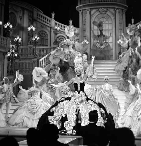 "Racks of donated ""Folies Bergere"" costumes undergo restoration and cataloguing at the Nevada State Museum, Las Vegas. MARK DAMON/LAS VEGAS NEWS BUREAU"