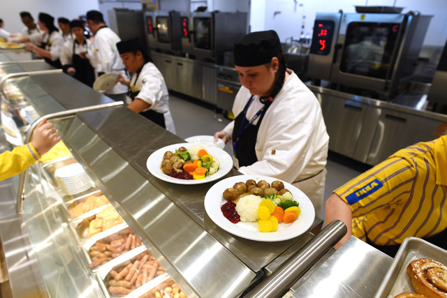 Plates of Swedish meatballs are ready for customers during the grand opening of Nevada's first IKEA home furnishings store Wednesday, May 18, 2016.  (Sam Morris/Las Vegas News Bureau)