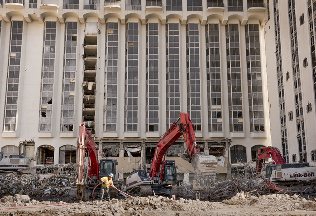 Contractors continue with the ongoing demolition of the Riviera Hotel and Casino in Las Vegas on Wednesday, May 25, 2016. (Mark Damon/Las Vegas News Bureau)