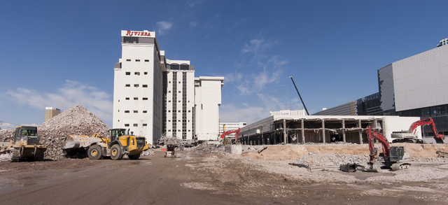 Contractors continue with the ongoing demolition of the Riviera Hotel and Casino in Las Vegas on Wednesday, May 25, 2016. Tower implosions are planned for later in the summer. The Las Vegas Conven ...