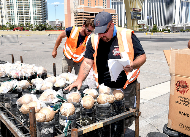 Grucci Fireworks team checking aerial fireworks against the set-up plan for the fireworks show accompanying the implosion of the Riviera hotel Tuesday morning, June 14, 2016 at 2 am. Sunday, June  ...