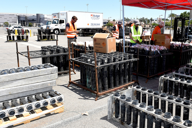 Grucci Fireworks team setting-up for the fireworks show accompanying the implosion of the Riviera hotel Tuesday morning, June 14, 2016 at 2 am to make room for the expansion of the Las Vegas Conve ...