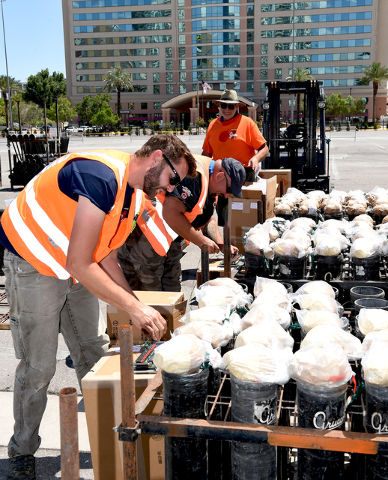 Grucci Fireworks team double-checking the wiring of aerial fireworks for the show accompanying the implosion of the Riviera hotel Tuesday morning, June 14, 2016 at 2 am. Sunday, June 12, 2016. (Gl ...