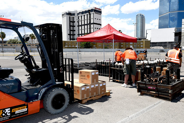 Grucci Fireworks team setting-up for the fireworks show accompanying the implosion of the Riviera hotel Tuesday morning, June 14, 2016 at 2 am. Sunday, June 12, 2016. (Glenn Pinkerton/Las Vegas Ne ...