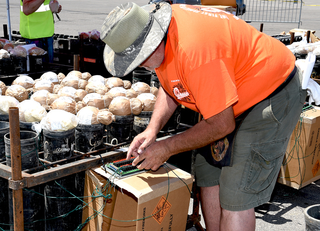 Grucci Fireworks team double-checking the wiring for a bank of aerial fireworks for the show accompanying the implosion of the Riviera hotel Tuesday morning, June 14, 2016 at 2 am. Sunday, June 12 ...