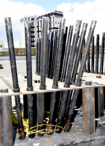Grucci Fireworks team has aerial fireworks tubes locked and loaded for the fireworks show accompanying the implosion of the Riviera hotel Tuesday morning, June 14, 2016 at 2 am. Sunday, June 12, 2 ...