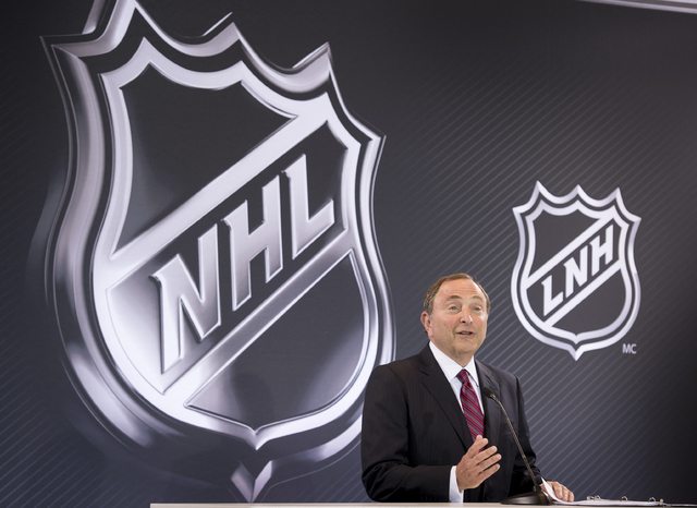 National Hockey League (NHL)  Commissioner Gary Bettman announces the league's expansion to Las Vegas in a news conference held at the Encore at Wynn Las Vegas on Wednesday, June 22, 2016. Bettman ...