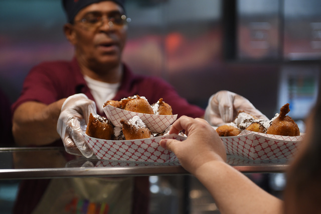 Deep-fried Oreos are served up at Mermaids Casino at the Saturday, June 25, 2016. Mermaids Casino, La Bayou and Glitter Gulch will close their doors on June 27th to make way for a new project. (Sa ...