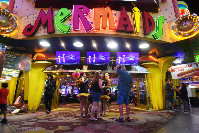 Mermaids Casino is seen at the Fremont Street Experience Saturday, June 25, 2016. Mermaids Casino, La Bayou and Glitter Gulch will close their doors on June 27th to make way for a new project. (Sa ...