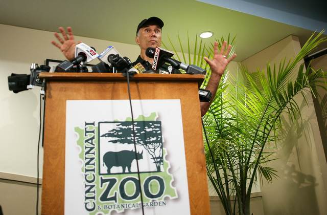 Thane Maynard, Executive Director of the Cincinnati Zoo and Botanical Gardens, speaks to reporters two days after a boy tumbled into a moat and officials were forced to kill Harambe, a Western low ...