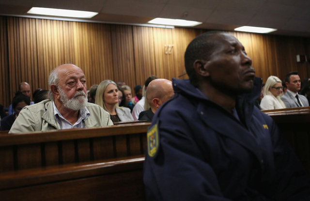 Barry Steenkamp, left, father of Reeva Steenkamp, attends the third day of the resentencing hearing of Paralympic gold medalist Oscar Pistorius , for the 2013 murder of his girlfriend, Reeva Steen ...