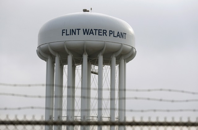 The top of the Flint Water Plant tower is seen in Flint, Michigan, Feb. 7, 2016. (Rebecca Cook/Reuters)